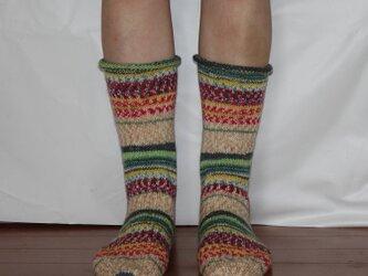 ドイツの毛糸でカラフルソックス グリーンの画像