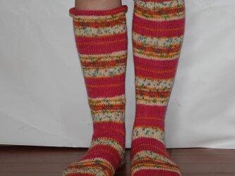ドイツの毛糸でカラフルソックス ピンクの画像