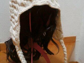 【寒中セール】森ガール風 耳当て&おさげ紐 ニット帽の画像