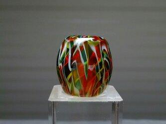 とんぼ玉/白レースオレンジ緑の画像