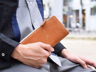 姫路産 馬革 オールレザーで仕上げた長財布 L型 手もみ シュリンク加工 キャメル ギフト 本革の画像