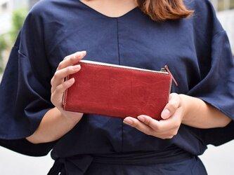 姫路産 馬革 オールレザーで仕上げた長財布 L型 手もみ シュリンク加工 ワインレッド ギフト 本革の画像