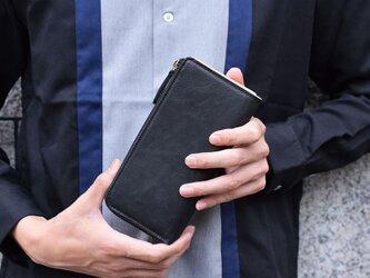 姫路産 馬革 オールレザーで仕上げた長財布 L型 手もみ シュリンク加工 ブラック ギフト 本革の画像