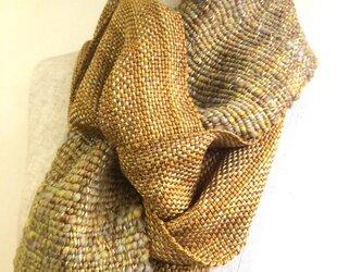 手紡ぎ糸と手織りのマフラー no.1の画像