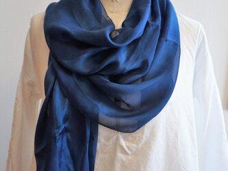 藍染 シルクストライプストールの画像