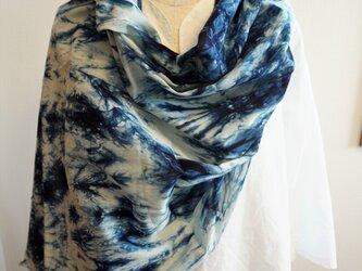 藍染 綿ストールの画像
