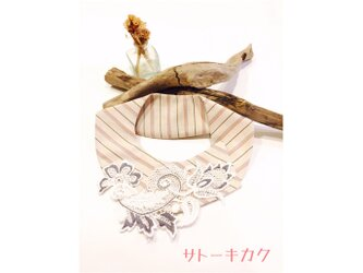 つけ襟☆  ベージュストライプ×刺繍レース(グレー) 【送料無料】の画像