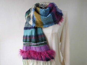 手織り(日本の冬)多色織りを楽しむ・ウール・カシミヤ・ロングストールの画像