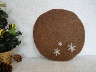 羊毛フェルトポットマット 茶  の画像