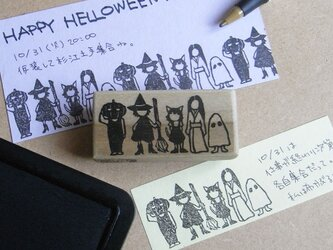 ハロウィンはんこ お化け横並びの画像