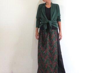 総刺繍/ラップスカート付きゆったりストレートパンツの画像