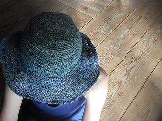 手染めrafia blue hatの画像