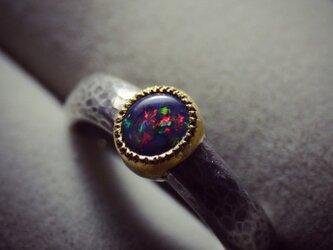 ブラックオパール/silver925/K22YGの指環の画像