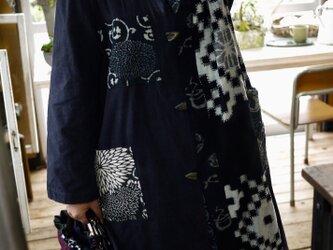 筒描と古布の刺し子コートの画像