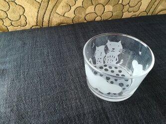 ガラスの小鉢 雲と猫の画像