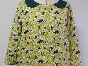 緑色丸衿×からし色アニマル柄 8分丈袖 裾ゴム入りプルオーバー M~Lサイズ 受注生産の画像