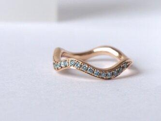 Sea blue ダイヤモンド k10 ハーフエタニティリングの画像