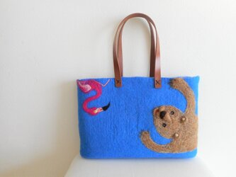 横長 クマとフラミンゴ バッグの画像