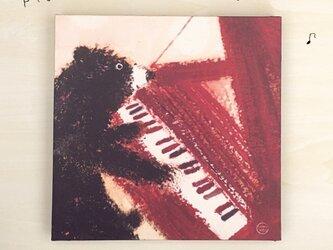 18cmパネル・ピアノくまの画像