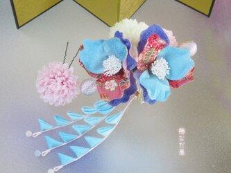 着物 髪飾り 七五三 成人式 青赤系 和 ヘアアクセサリー ちりめん花の画像