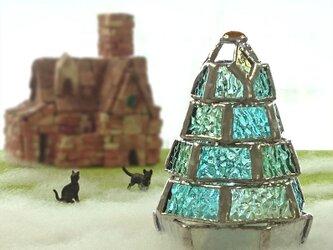 【小さなもみの木ランプ/新緑ver.】ステンドグラス・ミニランプ(LEDライト付)の画像
