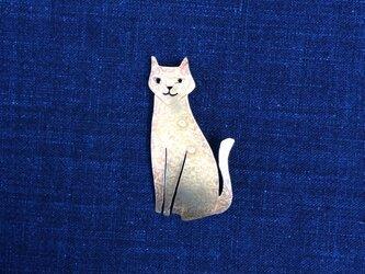 受注制作 ネコ 真鍮ブローチの画像