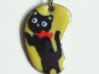 七宝ペンダントトップ シッカリ立ってる黒猫の画像
