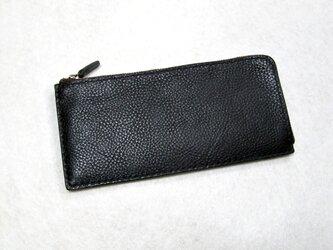 [受注生産]L型ファスナーのスリムなロングウォレット 黒色の画像