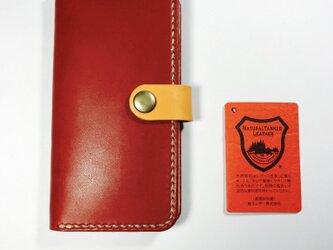 革のiphone8,7,6sケース る 紅(左利き用変更可)の画像