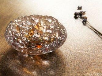 ガラスのアクセサリートレイ - 「 KUBOMI 」● アプリコット・9cmの画像