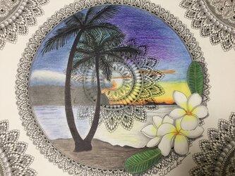 原画 肉筆 一点もの ボールペンアート  ヤシの木 やしの木 椰子の木 ハワイアン  百貨店作家 人気 ボールペン画 絵画の画像