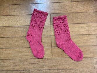 レースソックス・Flower Lace・ピンクの画像