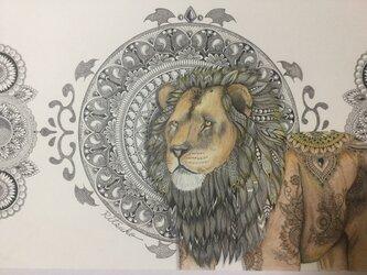 原画 肉筆 一点もの ボールペンアート ライオン ライオンの絵 百貨店作家 人気 ボールペン画 絵画の画像