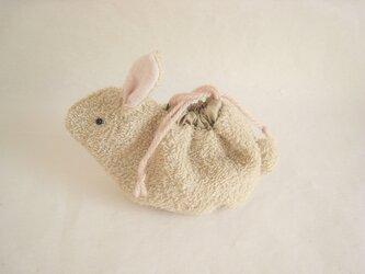 可愛いうさぎのミニ巾着(ベージュタオル生地)の画像