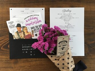 結婚式 似顔絵招待状 イラスト風の画像