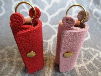 【新作・ピンク系】鍵1本・ちょっと突き出た革キーケース ミニ ゴールドホックの画像