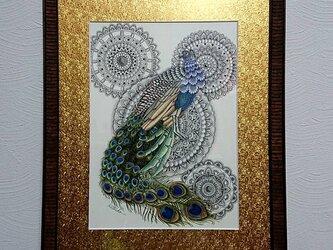 原画 肉筆 一点もの ボールペンアート 額装付き 孔雀 くじゃく クジャク 百貨店作家 人気 ボールペン画 絵画の画像