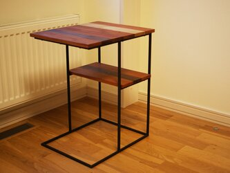 【開店記念 期間限定半額】サイドテーブル アイアン×寄木の画像