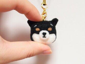 まゆ黒柴犬 携帯クリーナーストラップ 羊毛フェルト(アクレーヌ製)※受注製作の画像