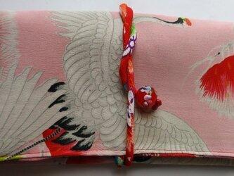 送料無料 鶴の柄の長襦袢で作った和風財布・ポーチ 2975の画像