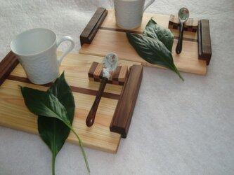 檜の ティートレイ2組セット、スプーン置き付!の画像