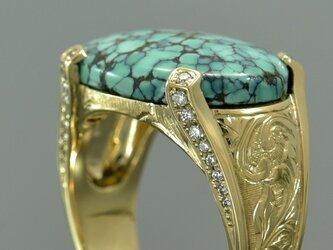 K14YG ターコイズ ダイヤモンド リング (414071A)の画像