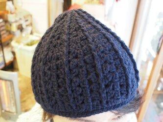 コロンと栗みたいなニット帽(ネイビー/ウール100%)【オーダー可】の画像