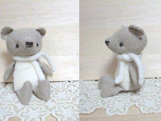 【受注制作】リネンとファーのくまちゃん(ホワイト)の画像