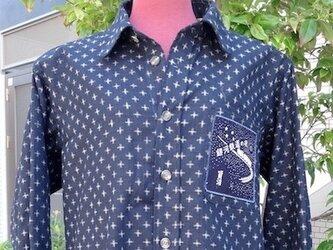 紺かすり模様のメンズシャツL寸相当 送料無料の画像