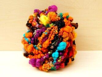 125g -おばけかぼちゃの行進- ハロウィン 糸 素材 ニット スヌード ネックレス ひもの画像
