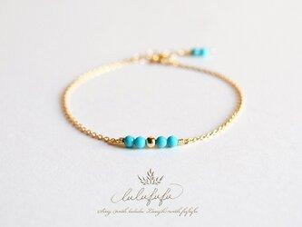 ■tiny stone bracelet■ターコイズの画像