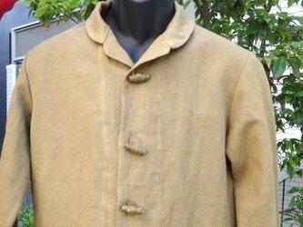 イタリア生地使用 カーキー色ジャケット 送料無料の画像