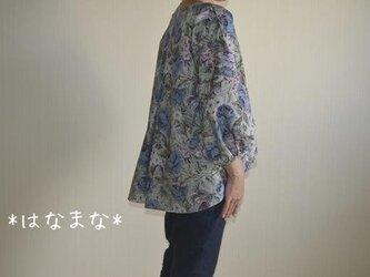 受注製作 2サイズ対応 秋ブラウス 華やかな薔薇 後ろタックヘムライン パフスリーブの画像