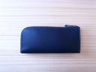 L字ファスナーの長財布(ネイビー)の画像